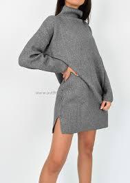 High Neck Jumper Dress In Grey