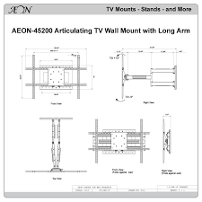 drawings for full motion tv wall mount with 32 inch long extension for 42 to 80 inch tvs