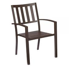hampton bay mix and match brown stackable metal outdoor dining chair in outdoor chairs metal