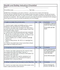 Training Programme Schedule Format Sample Induction Checklist Template Free Word Format