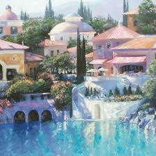 howard behrens signed lago bellagio limited edition 32x24 hand embellished giclee on canvas