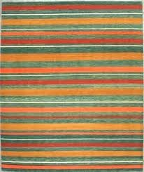 green striped rug stripes gold red wool orange and blue