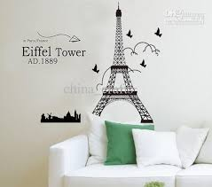 removable eiffel tower wall stickers decals art living room