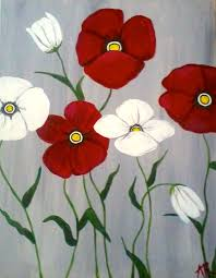 wine canvas poppies
