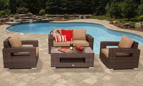 outdoor upholstered furniture. Exterior Patio Furniture Equipped With Dark Brown Chairs Have High Back And Arm Rest Also Soft Sofa Leather Red Cushions Rectangular Wooden Outdoor Upholstered H