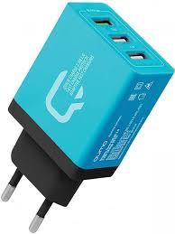 <b>Зарядное устройство Qumo 2xUSB</b> 2 1A Quick Charge 3 0 Blue ...