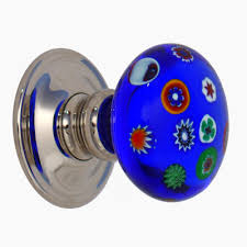 Models Blue Glass Door Knobs Cobalt Millefiori Knob B Throughout Modern Ideas