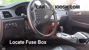 interior fuse box location 2009 2014 hyundai genesis 2009 locate interior fuse box and remove cover
