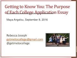 a angelou presentation getting to know you the purpose of each college application essay a angelou