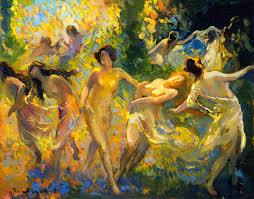 dancing women franz bischoff oil painting