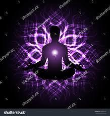 Purple Light In Meditation Man Meditation Dark Purple Light Abstract Stock Vector