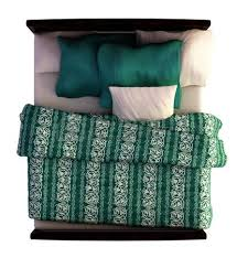double bed top view. Top View Of A Bed With Blanket And Pillow Isolated On White. Photo Double