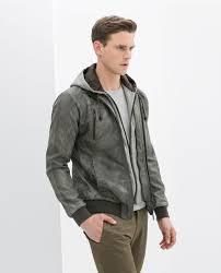 zara hooded faux leather jacket
