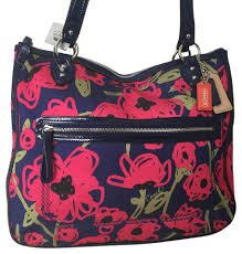 ... Coach Floral Poppy Navy Hallie Tote in Multicolor .
