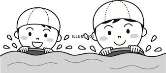 無料イラスト ビート板で泳ぐ子供たちモノクロ