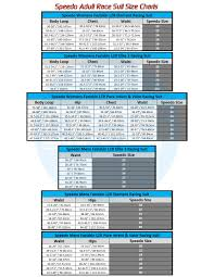 Speedo Size Charts Adult Race Suits Ness Swimwear