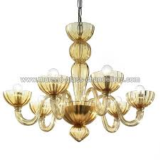 redentore 6 lights murano chandelier amber color