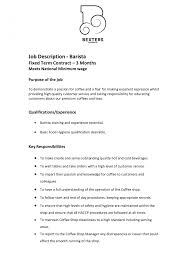 Starbucks Barista Job Description For Resume Resumess Resume No Experience Manager Sample Objective Job 18