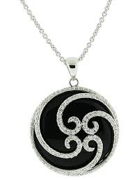 18k solid white gold 14 50ct black onyx circle shape pave diamond pendant necklace at vonora
