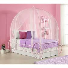 PINK CANOPY BED Princess Carriage Twin Kids Girls Bedroom Furniture Cinderella