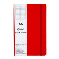 Red Grid Paper Notebook Leather Hardcover Medium A5 Inner Pocket