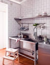 Stainless Shelves Kitchen Kitchen Style Industrial Kitchen Design Open Shelves Stainless