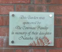 memorial plaques irelnad acrylic and glass in memoriam sign for sensory garden