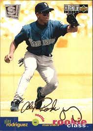 Vintage rookie card over 20 years old shipped in ultra pro top loader to protect it! 1995 Collector S Choice Se Silver Signature 1 Alex Rodriguez Nm Mt