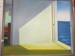 open door painting. Lot 776 - EDWARD HOPPER, Signed Painting On Canvas Surreal Compositition \ Open Door I