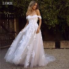 <b>LORIE Lace Wedding</b> Dress Off the Shoulder Appliques A Line ...