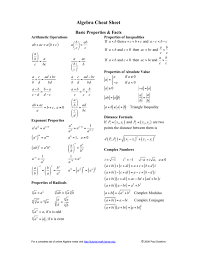 A separate answer sheet for part i has been provided to you. Algebra Cheat Sheet
