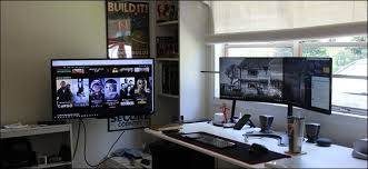 home office computer setup. If You Have A Home Office Or Specific Space For Your Desktop PC, Adding TV To Monitor Setup Is Great Way Add An Incredible Amount Of Versatility Computer E