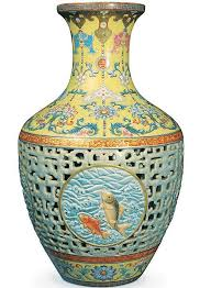 Green antique vase with asian girl