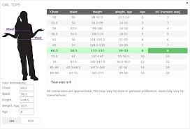 Magento Size Chart