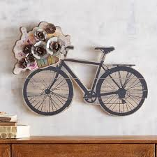 on iron bike wall decor with basket with blooming bicycle wall decor pier 1 imports