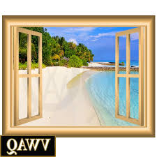 widely used sandy beach vinyl decal window frame scene wall art l and stick within window
