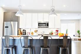bring an industrial twist to your kitchen with these aluminum modern bar stools they look amazing in a more contemporary ambiance but you can also put