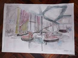 Эскизы дипломного проекта гостиницы Дарья Поршнева vatikam Первоначальный эскиз вестибюля гостиницы