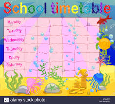 Timetable Chart Ideas School Time Table Chart Stock Photos School Time Table