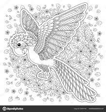 Papegaai Tropische Vogel Vectorillustratie Kleurboek Voor Regarding