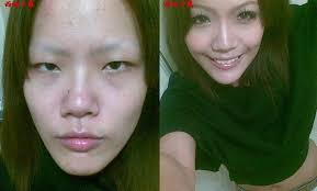 asian s with and without makeup