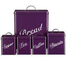 Purple Kitchen Canister Sets 5 Piece Canister Set Purple Bread Bin Sugar Coffee Tea Biscuits By