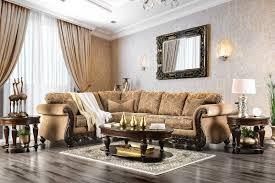 sm6409 2 pc cassandra tan fl patterned fabric wood trim accents sectional sofa set