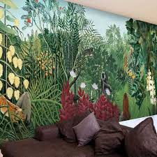 3d mural tropical rainforest jungle green large mural cafe lounge wallpaper mural