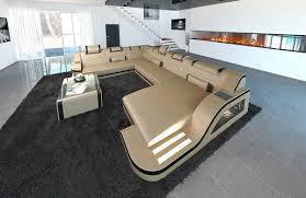 Couch Wohnlandschaft Sofa Leder Palermo Xxl Modern Eckcouch