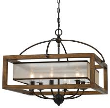 60w square chandelier dark bronze finish organza