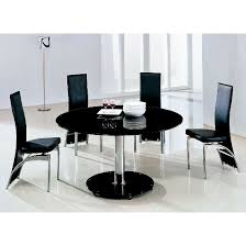dining table black glass. maxi glass dining table round in black with 6 g501 chairs