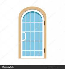 glass paned arched front door closed elegant door vector ilration stock vector