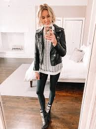 how to style leather leggings with a tunic sweater