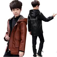 popular brands children outerwear coat faux leather jacket boy hooded winter thick plus velvet for